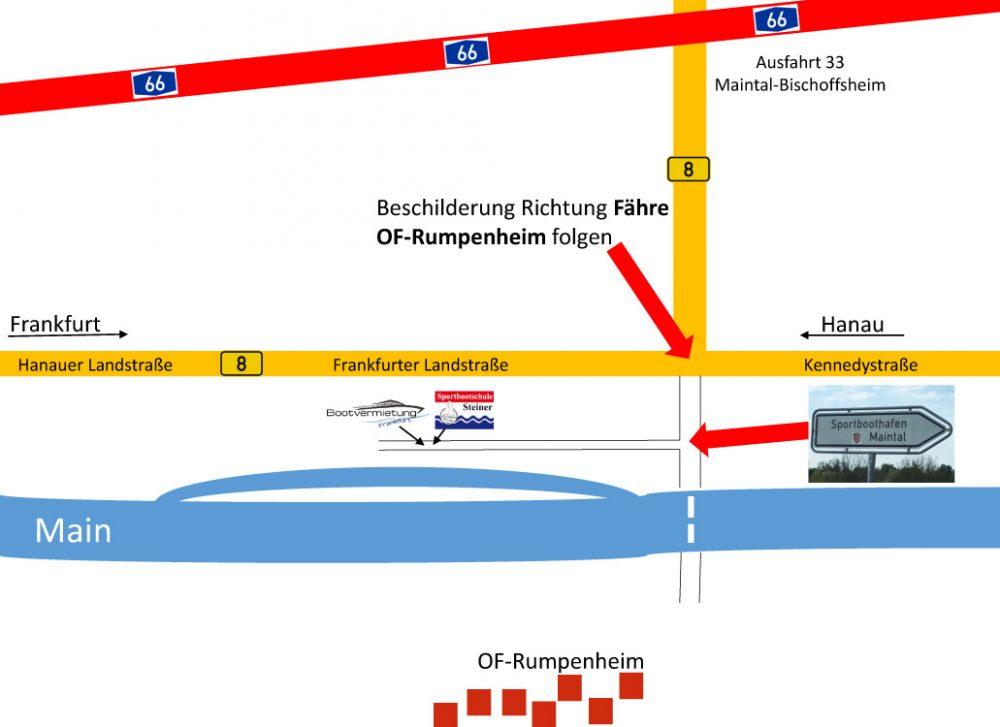 Anfahrtskizze Bootvermietung Frankfurt