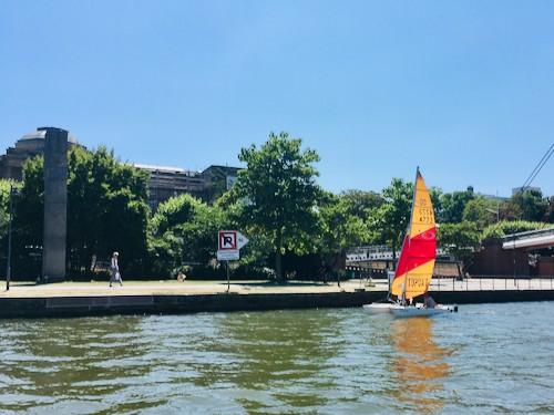 Segelboot auf dem Main in Frankfurt vor dem Städel Museum